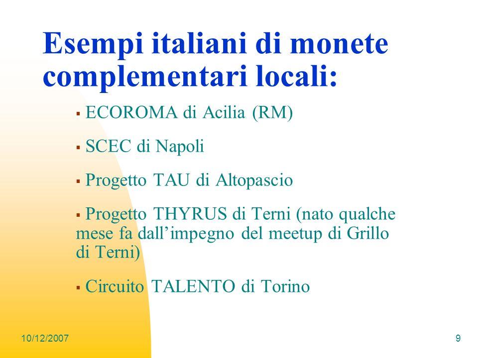 Esempi italiani di monete complementari locali: ECOROMA di Acilia (RM) SCEC di Napoli Progetto TAU di Altopascio Progetto THYRUS di Terni (nato qualch