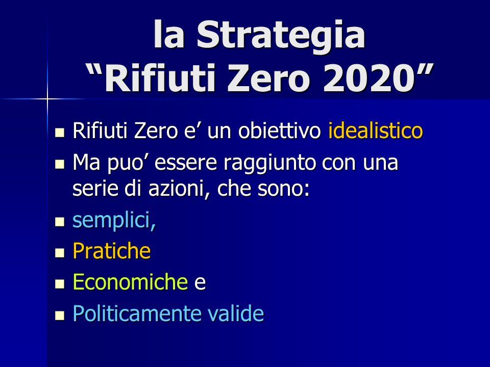 la Strategia Rifiuti Zero 2020 Rifiuti Zero e un obiettivo idealistico Rifiuti Zero e un obiettivo idealistico Ma puo essere raggiunto con una serie di azioni, che sono: Ma puo essere raggiunto con una serie di azioni, che sono: semplici, semplici, Pratiche Pratiche Economiche e Economiche e Politicamente valide Politicamente valide