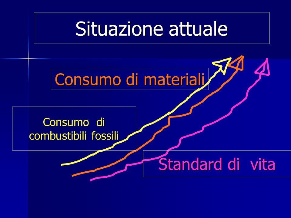 Consumo di materiali Standard di vita Situazione attuale Consumo di combustibili fossili