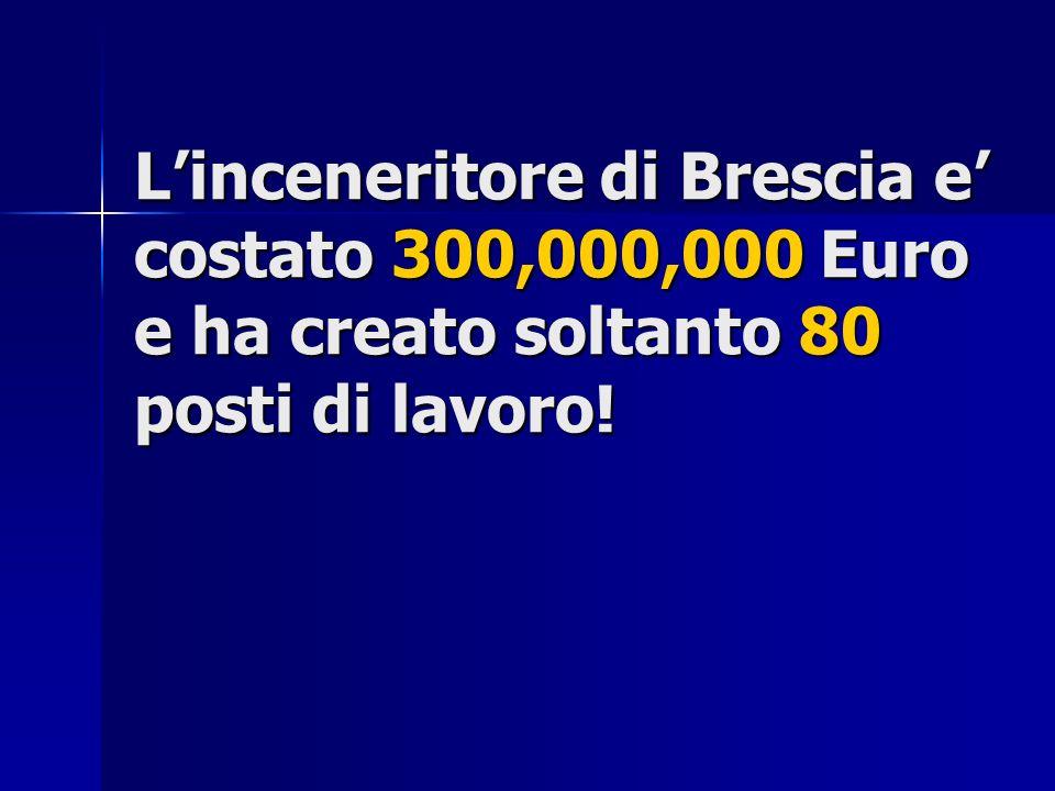 Linceneritore di Brescia e costato 300,000,000 Euro e ha creato soltanto 80 posti di lavoro!