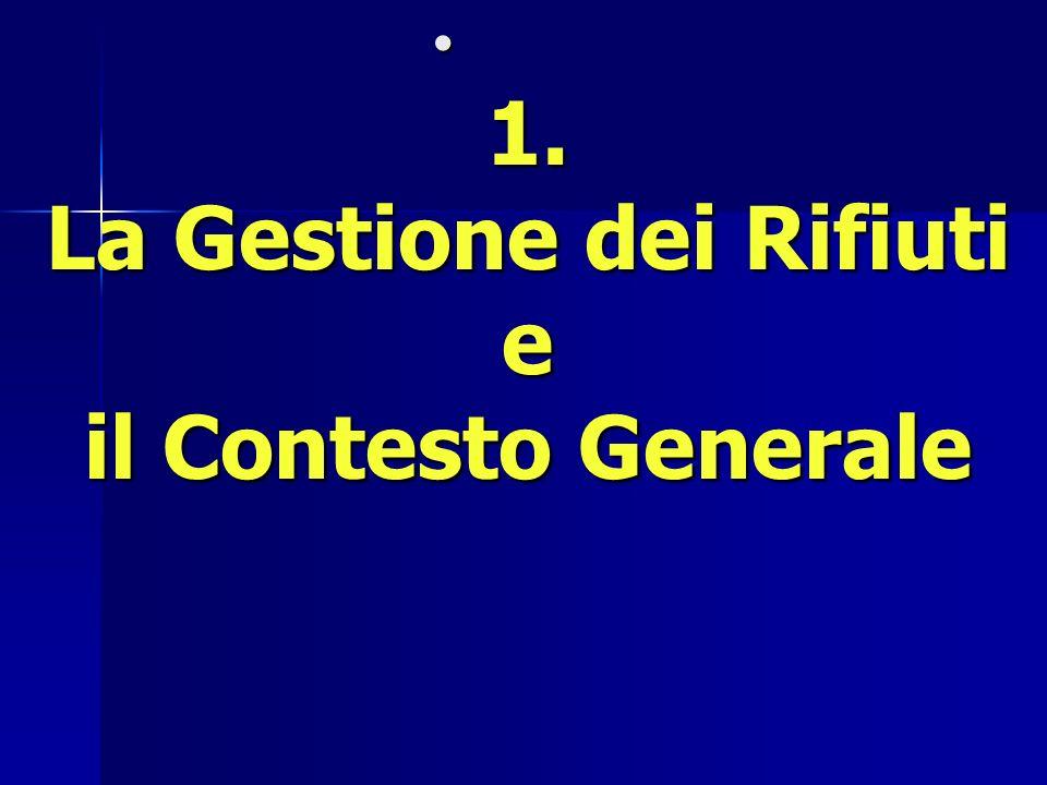 1. La Gestione dei Rifiuti e il Contesto Generale 1. La Gestione dei Rifiuti e il Contesto Generale