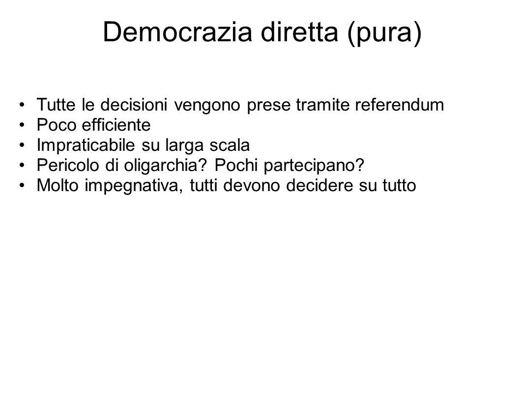Democrazia diretta (pura) Tutte le decisioni vengono prese tramite referendum Poco efficiente Impraticabile su larga scala Pericolo di oligarchia.