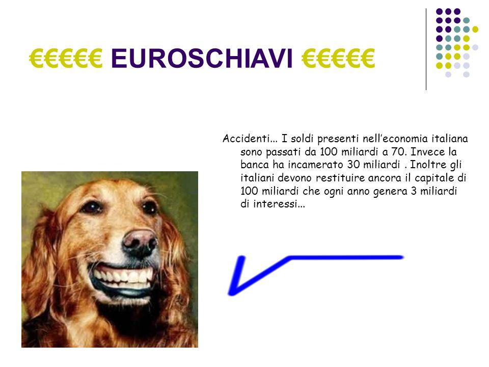 EUROSCHIAVI Accidenti... I soldi presenti nelleconomia italiana sono passati da 100 miliardi a 70.