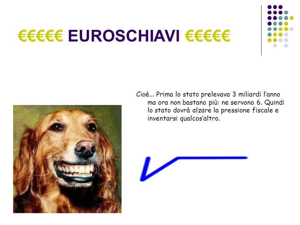 EUROSCHIAVI Cioè... Prima lo stato prelevava 3 miliardi lanno ma ora non bastano più: ne servono 6.