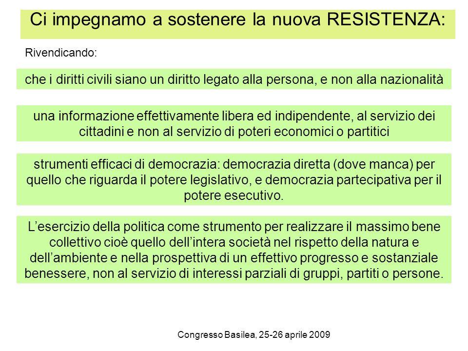 Congresso Basilea, 25-26 aprile 2009 Ci impegnamo a sostenere la nuova RESISTENZA: che i diritti civili siano un diritto legato alla persona, e non al