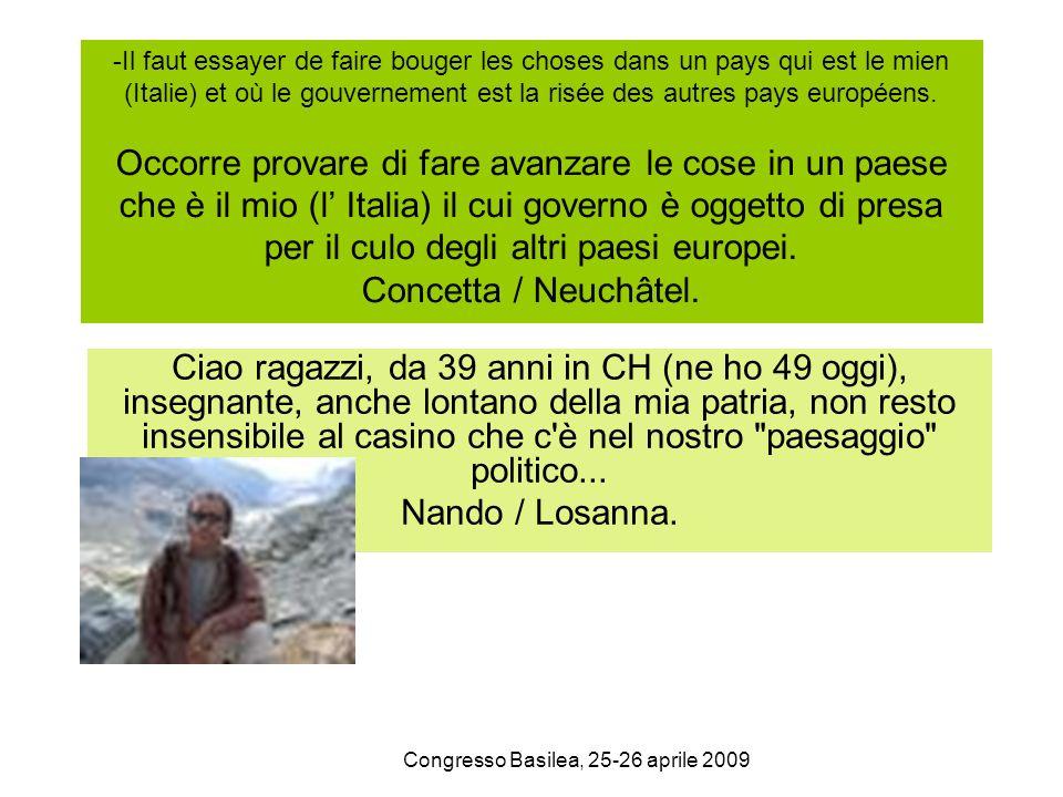 Congresso Basilea, 25-26 aprile 2009 -Il faut essayer de faire bouger les choses dans un pays qui est le mien (Italie) et où le gouvernement est la ri
