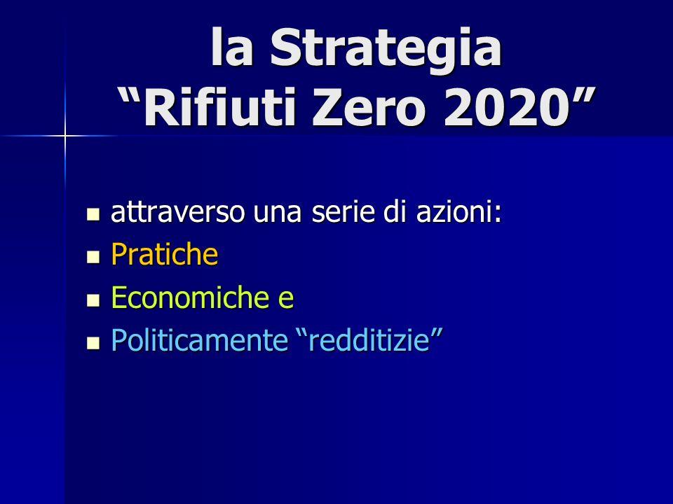 la Strategia Rifiuti Zero 2020 attraverso una serie di azioni: attraverso una serie di azioni: Pratiche Pratiche Economiche e Economiche e Politicamen