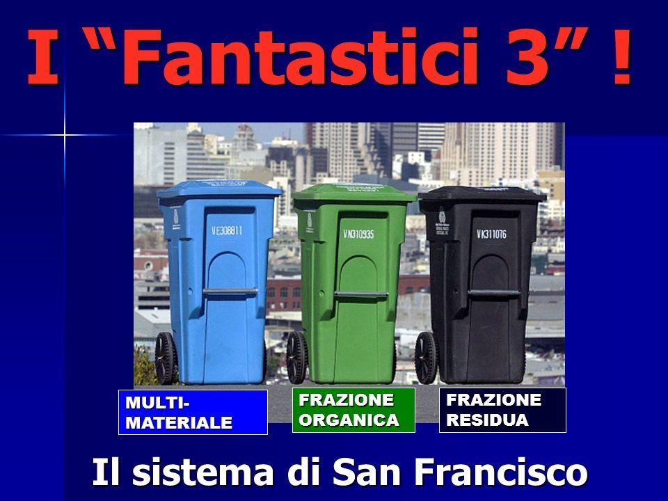 I Fantastici 3 ! Il sistema di San Francisco FRAZIONE RESIDUA FRAZIONE ORGANICA MULTI-MATERIALE