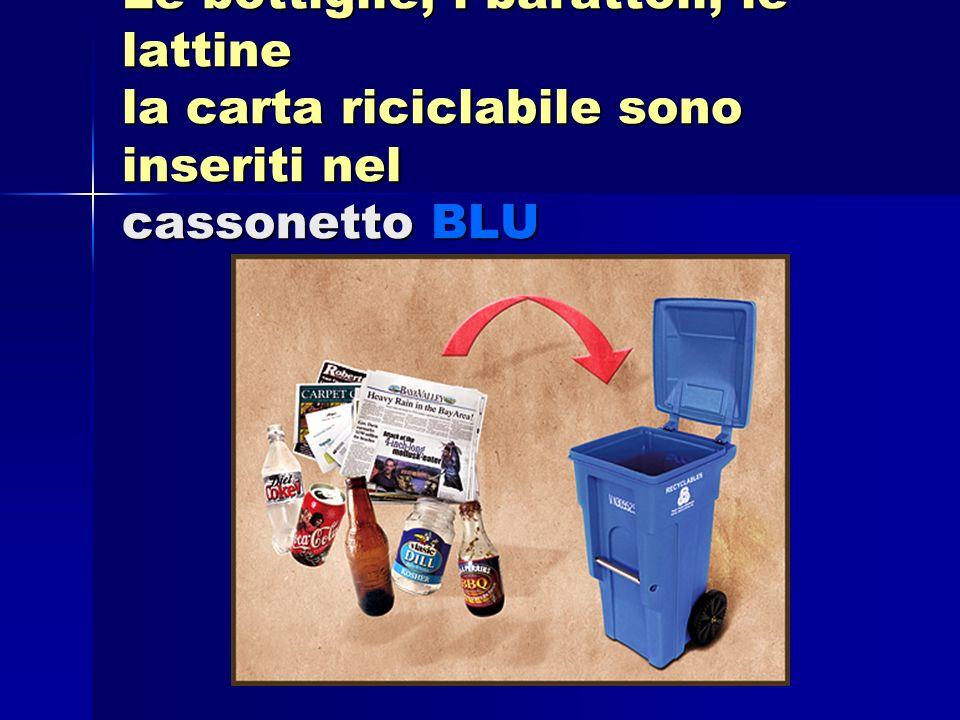 Le bottiglie, i barattoli, le lattine la carta riciclabile sono inseriti nel cassonetto BLU