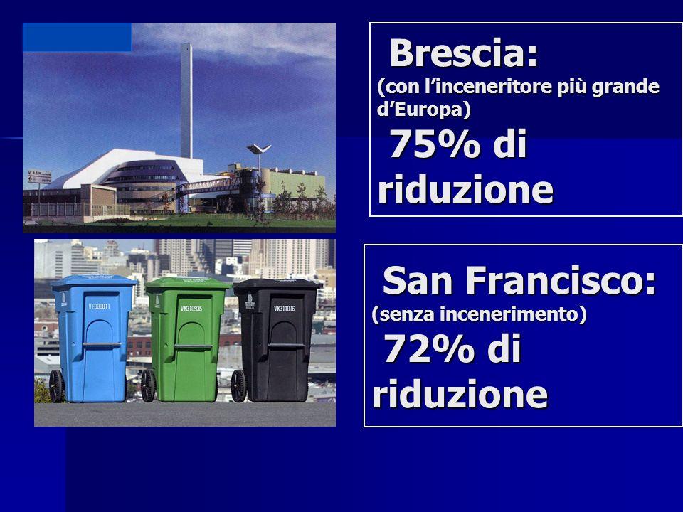 Brescia: (con linceneritore più grande dEuropa) 75% di riduzione Brescia: (con linceneritore più grande dEuropa) 75% di riduzione San Francisco: San F