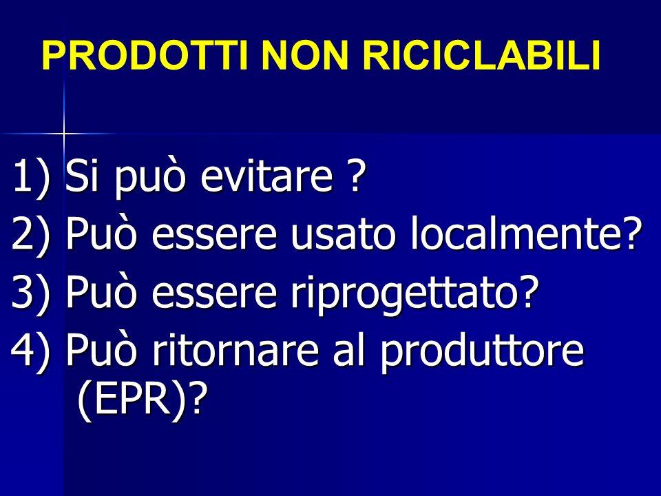 PRODOTTI NON RICICLABILI 1) Si può evitare ? 2) Può essere usato localmente? 3) Può essere riprogettato? 4) Può ritornare al produttore (EPR)?