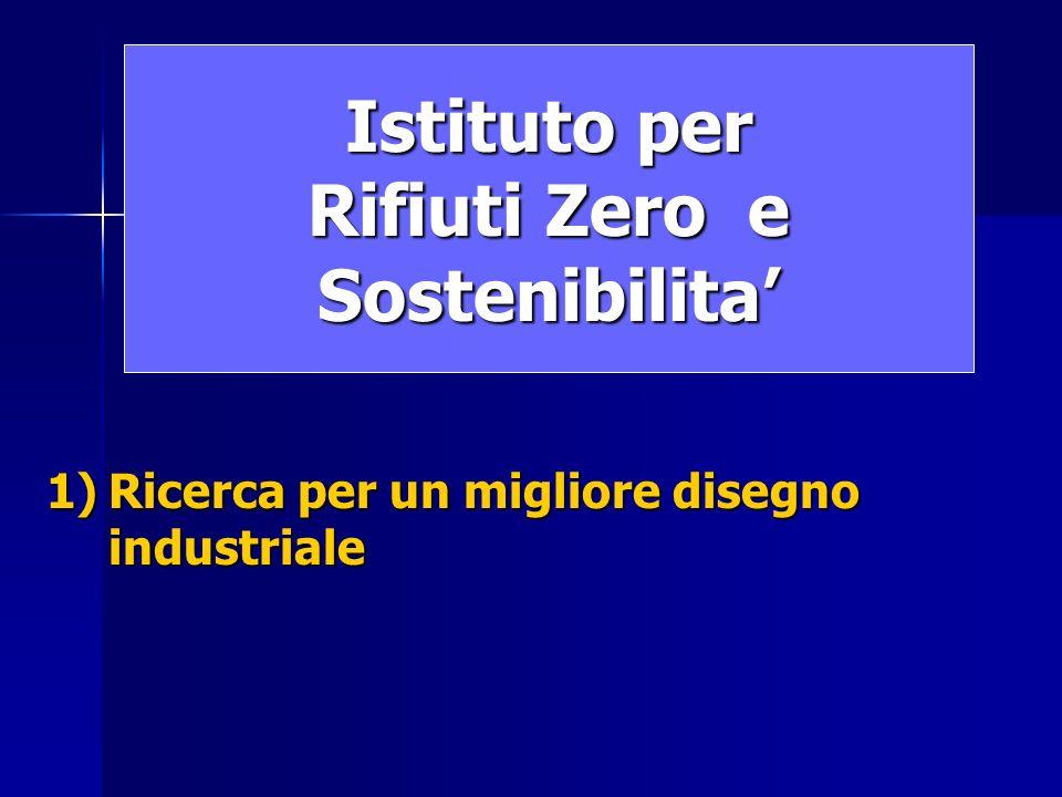 Istituto per Rifiuti Zero e Sostenibilita 1)Ricerca per un migliore disegno industriale