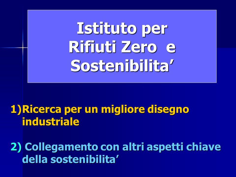 Istituto per Rifiuti Zero e Sostenibilita 1)Ricerca per un migliore disegno industriale 2) Collegamento con altri aspetti chiave della sostenibilita