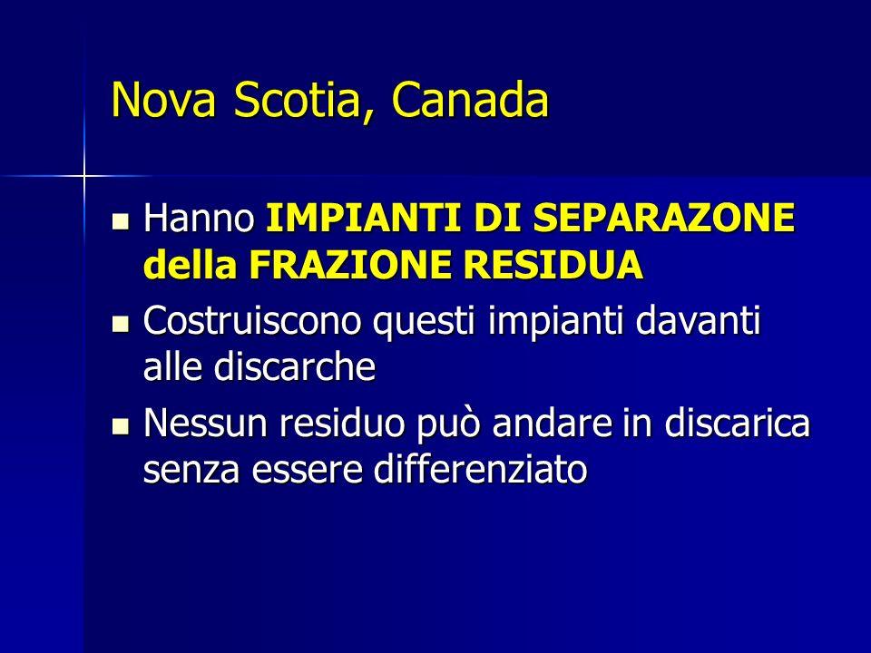 Nova Scotia, Canada Hanno IMPIANTI DI SEPARAZONE della FRAZIONE RESIDUA Hanno IMPIANTI DI SEPARAZONE della FRAZIONE RESIDUA Costruiscono questi impianti davanti alle discarche Costruiscono questi impianti davanti alle discarche Nessun residuo può andare in discarica senza essere differenziato Nessun residuo può andare in discarica senza essere differenziato