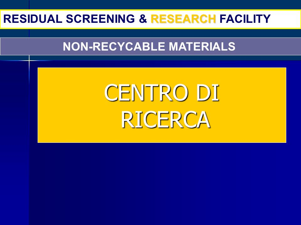 NON-RECYCABLE MATERIALS RESEARCH RESIDUAL SCREENING & RESEARCH FACILITY CENTRO DI RICERCA RICERCA