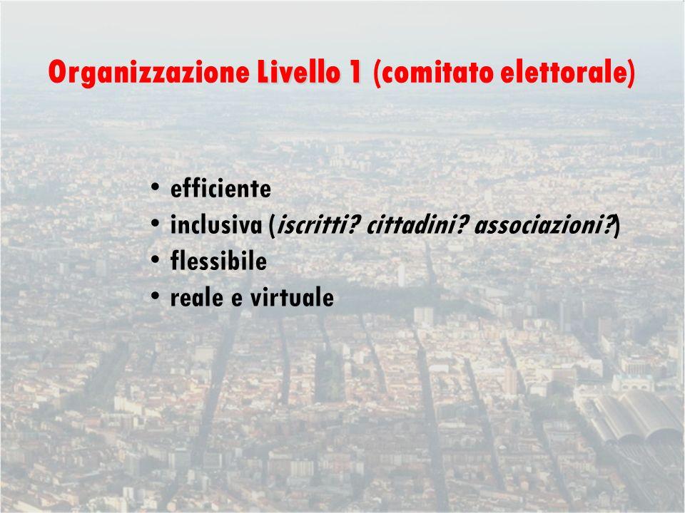 Livello 1 Organizzazione Livello 1 (comitato elettorale) efficiente inclusiva (iscritti.