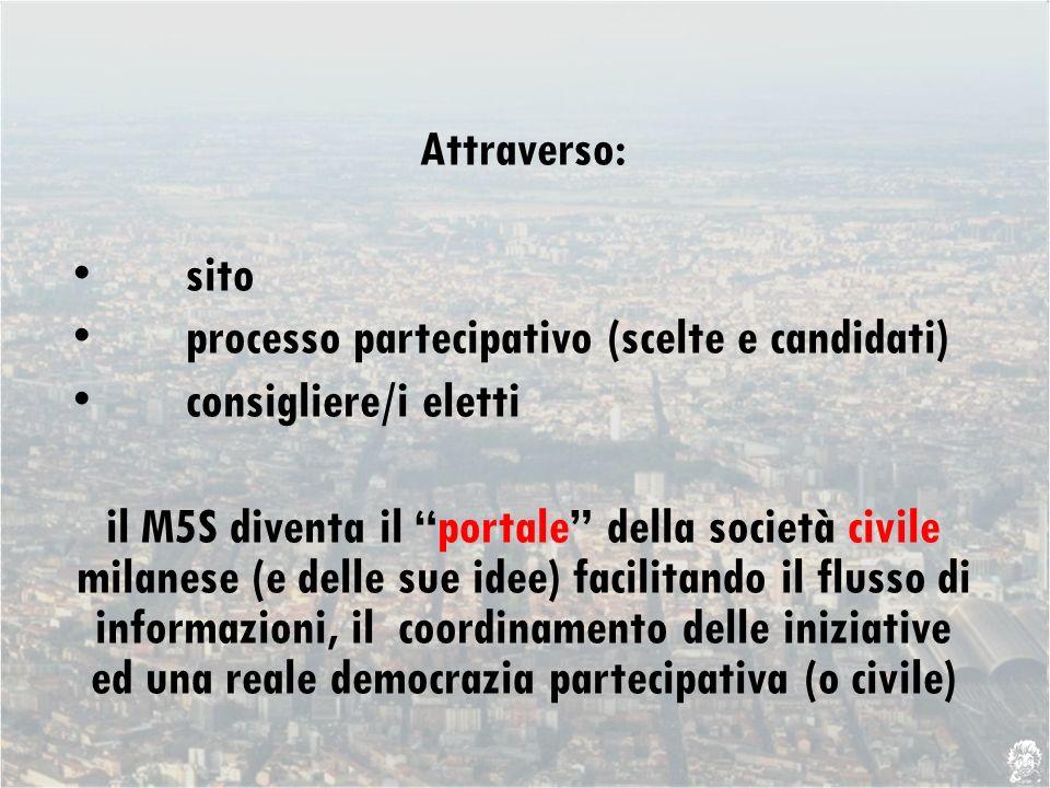 Attraverso: sito processo partecipativo (scelte e candidati) consigliere/i eletti portalecivile il M5S diventa il portale della società civile milanese (e delle sue idee) facilitando il flusso di informazioni, il coordinamento delle iniziative ed una reale democrazia partecipativa (o civile)