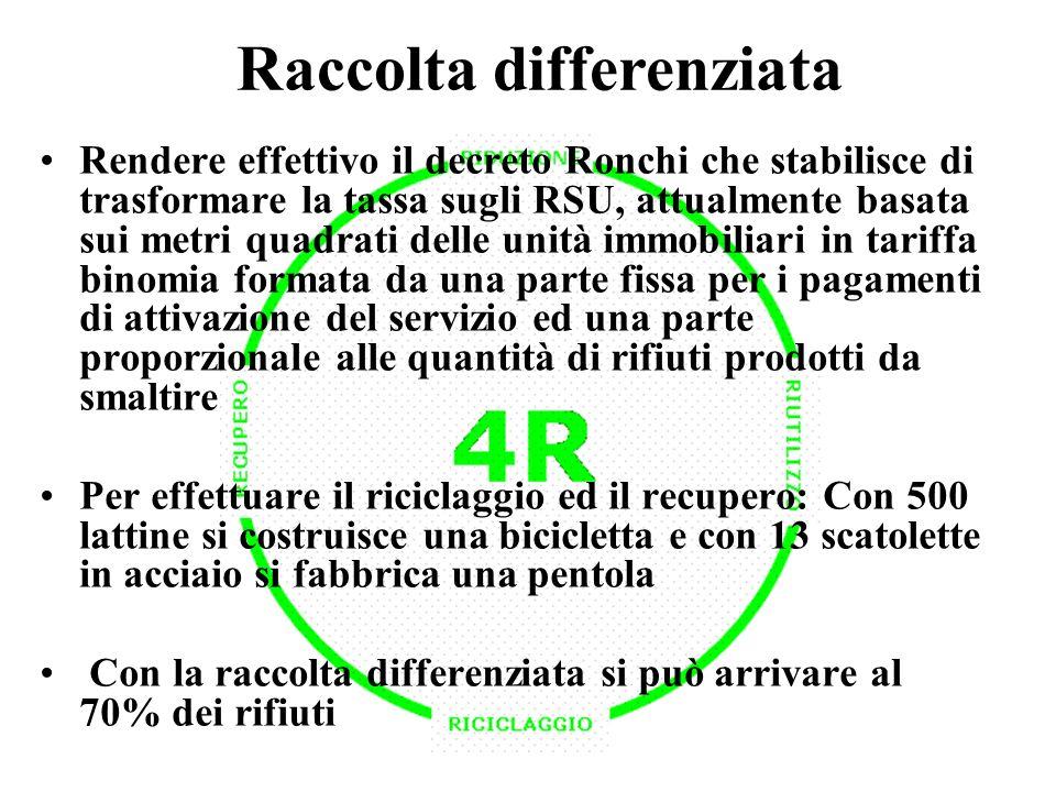 Raccolta differenziata Rendere effettivo il decreto Ronchi che stabilisce di trasformare la tassa sugli RSU, attualmente basata sui metri quadrati del