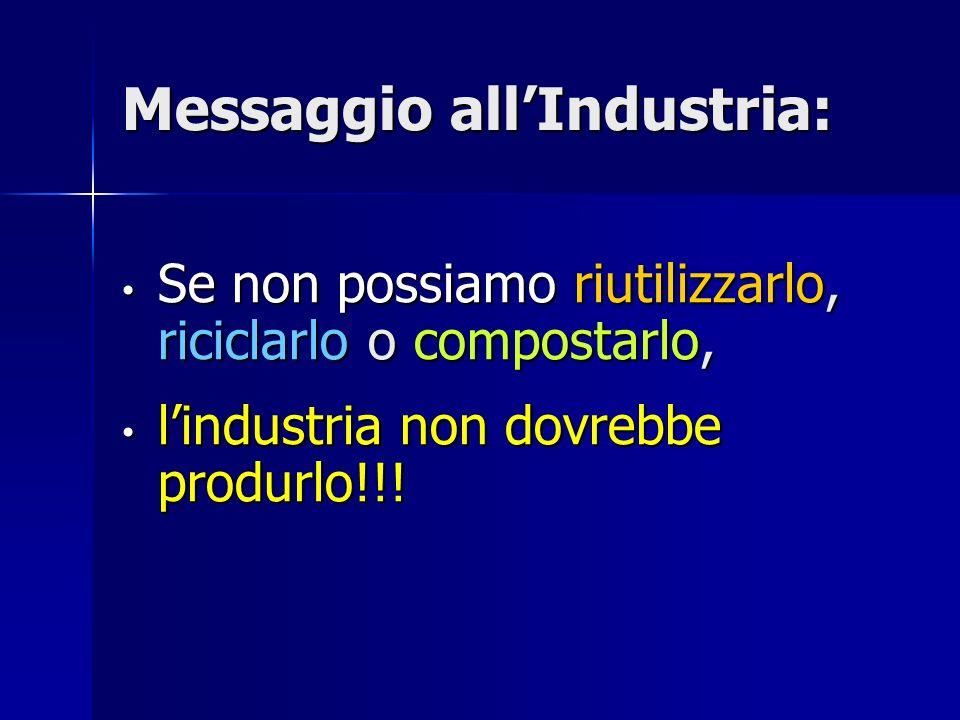 Messaggio allIndustria: Se non possiamo riutilizzarlo, riciclarlo o compostarlo, Se non possiamo riutilizzarlo, riciclarlo o compostarlo, lindustria non dovrebbe produrlo!!.