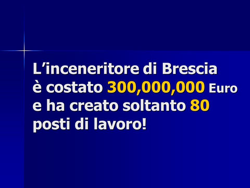 Linceneritore di Brescia è costato 300,000,000 Euro e ha creato soltanto 80 posti di lavoro!