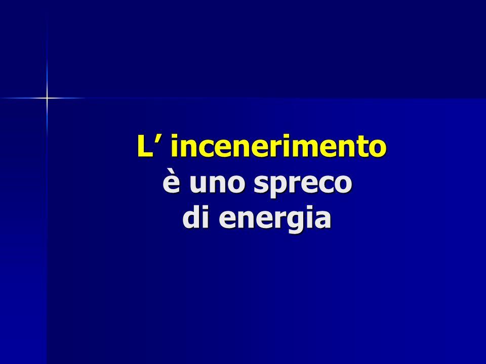 L incenerimento è uno spreco di energia L incenerimento è uno spreco di energia