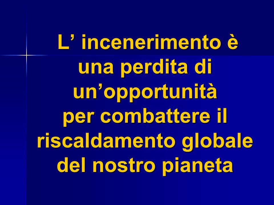 L incenerimento è una perdita di unopportunità per combattere il riscaldamento globale del nostro pianeta L incenerimento è una perdita di unopportunità per combattere il riscaldamento globale del nostro pianeta