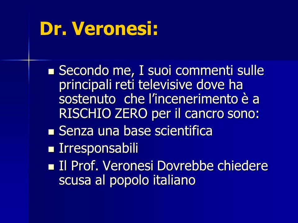 Dr. Veronesi: Secondo me, I suoi commenti sulle principali reti televisive dove ha sostenuto che lincenerimento è a RISCHIO ZERO per il cancro sono: S