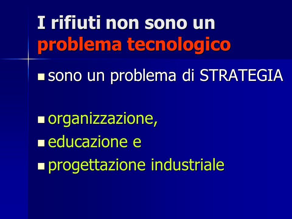 I rifiuti non sono un problema tecnologico sono un problema di STRATEGIA sono un problema di STRATEGIA organizzazione, organizzazione, educazione e educazione e progettazione industriale progettazione industriale
