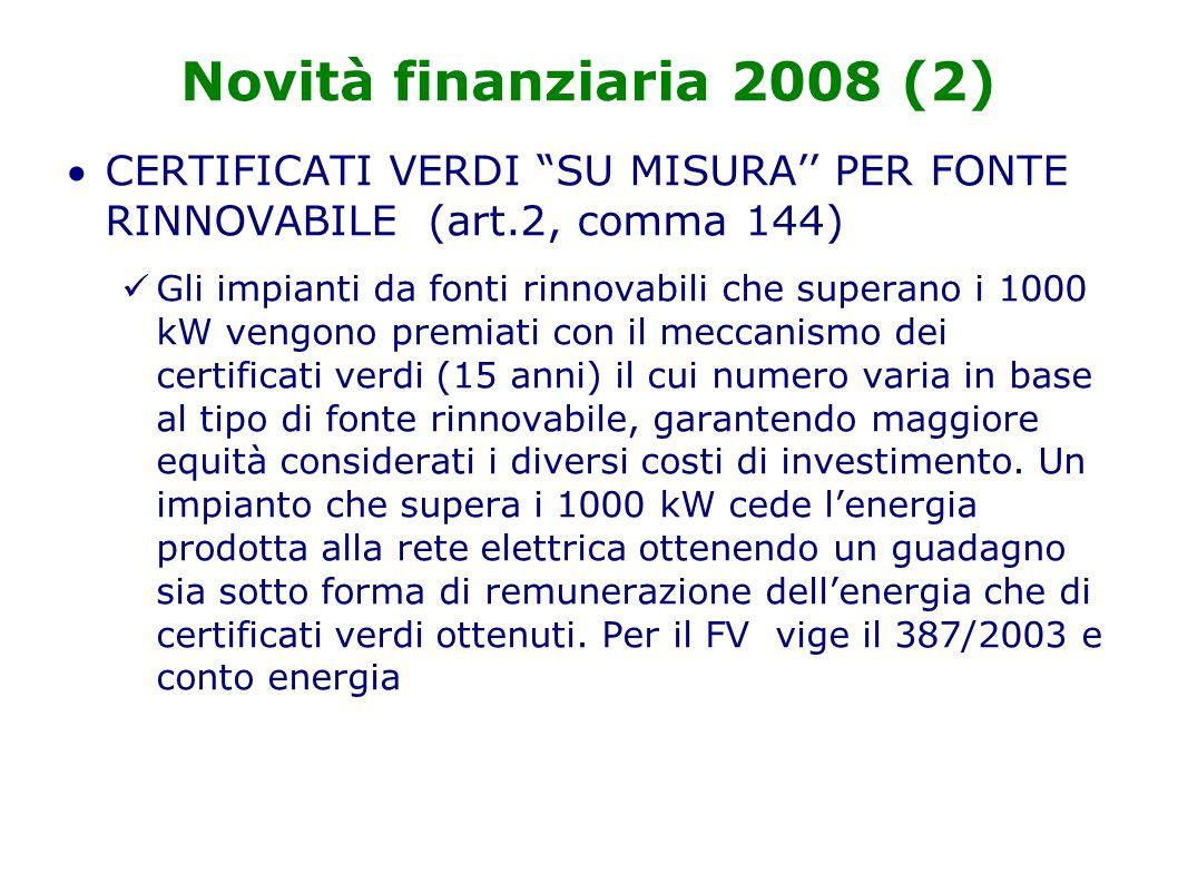 Novità finanziaria 2008 (2) CERTIFICATI VERDI SU MISURA PER FONTE RINNOVABILE (art.2, comma 144) Gli impianti da fonti rinnovabili che superano i 1000 kW vengono premiati con il meccanismo dei certificati verdi (15 anni) il cui numero varia in base al tipo di fonte rinnovabile, garantendo maggiore equità considerati i diversi costi di investimento.