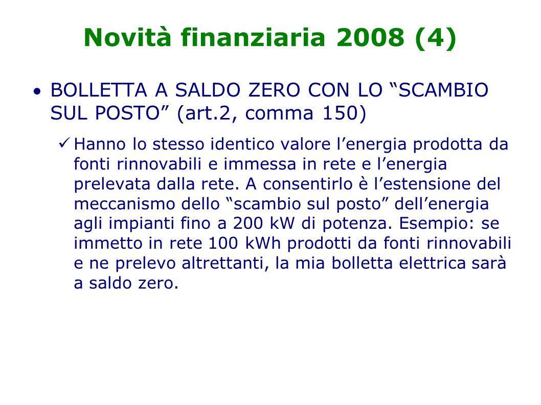 Novità finanziaria 2008 (4) BOLLETTA A SALDO ZERO CON LO SCAMBIO SUL POSTO (art.2, comma 150) Hanno lo stesso identico valore lenergia prodotta da fonti rinnovabili e immessa in rete e lenergia prelevata dalla rete.