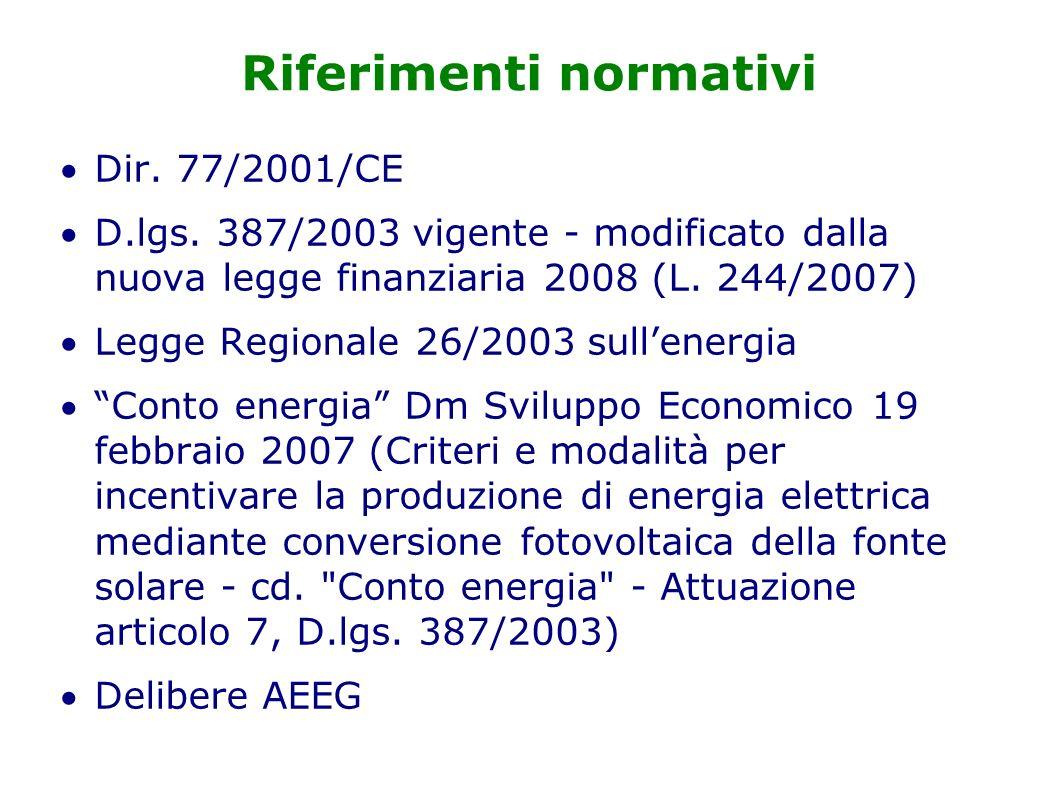 Riferimenti normativi Dir. 77/2001/CE D.lgs.