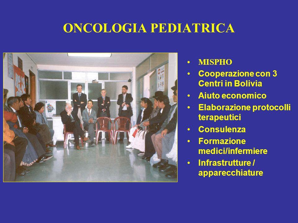 ONCOLOGIA PEDIATRICA MISPHO Cooperazione con 3 Centri in Bolivia Aiuto economico Elaborazione protocolli terapeutici Consulenza Formazione medici/infe