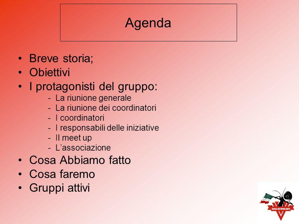 Breve storia; Obiettivi I protagonisti del gruppo: -La riunione generale -La riunione dei coordinatori -I coordinatori -I responsabili delle iniziative -Il meet up -Lassociazione Cosa Abbiamo fatto Cosa faremo Gruppi attivi Agenda