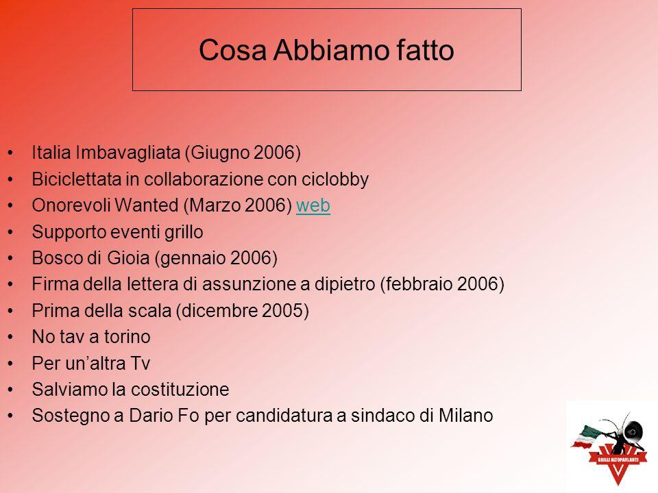 Italia Imbavagliata (Giugno 2006) Biciclettata in collaborazione con ciclobby Onorevoli Wanted (Marzo 2006) webweb Supporto eventi grillo Bosco di Gio