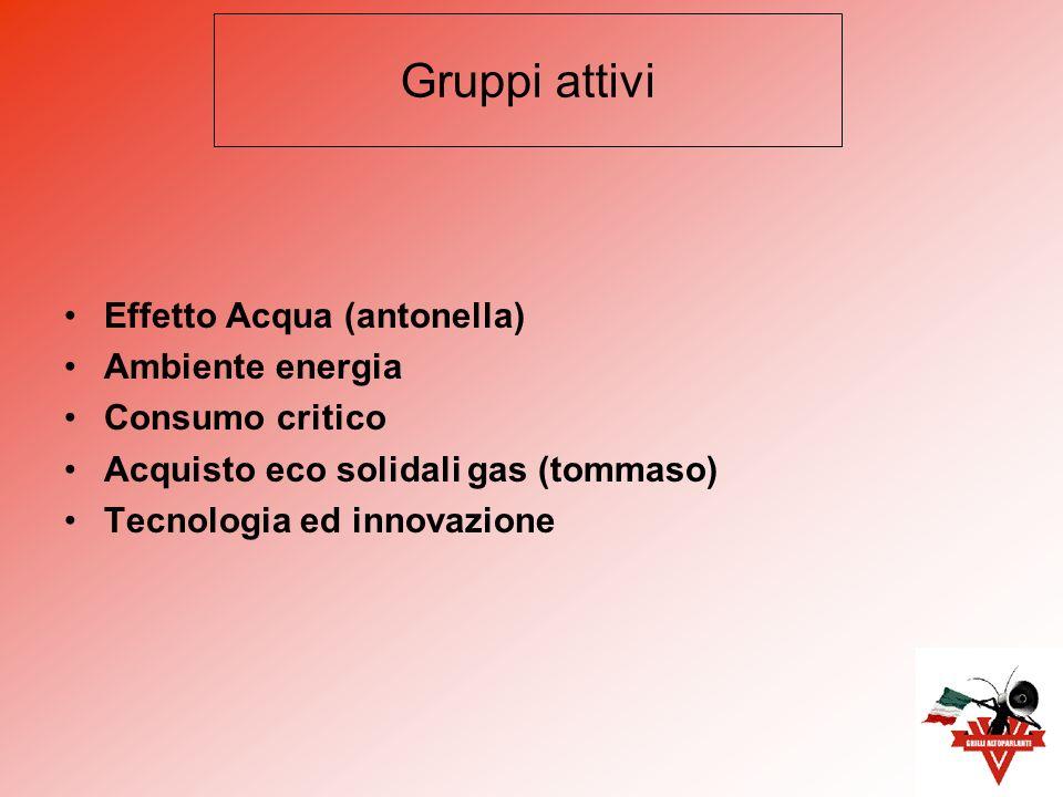 Effetto Acqua (antonella) Ambiente energia Consumo critico Acquisto eco solidali gas (tommaso) Tecnologia ed innovazione Gruppi attivi