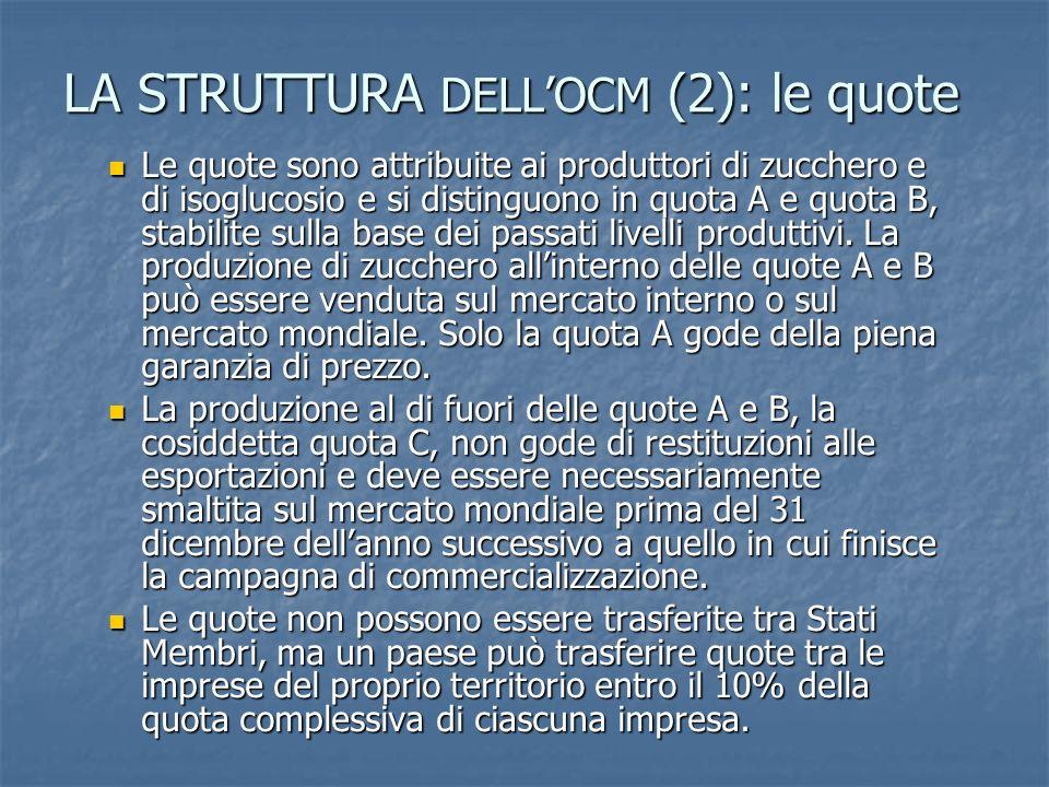 LA STRUTTURA DELLOCM (2): le quote Le quote sono attribuite ai produttori di zucchero e di isoglucosio e si distinguono in quota A e quota B, stabilit
