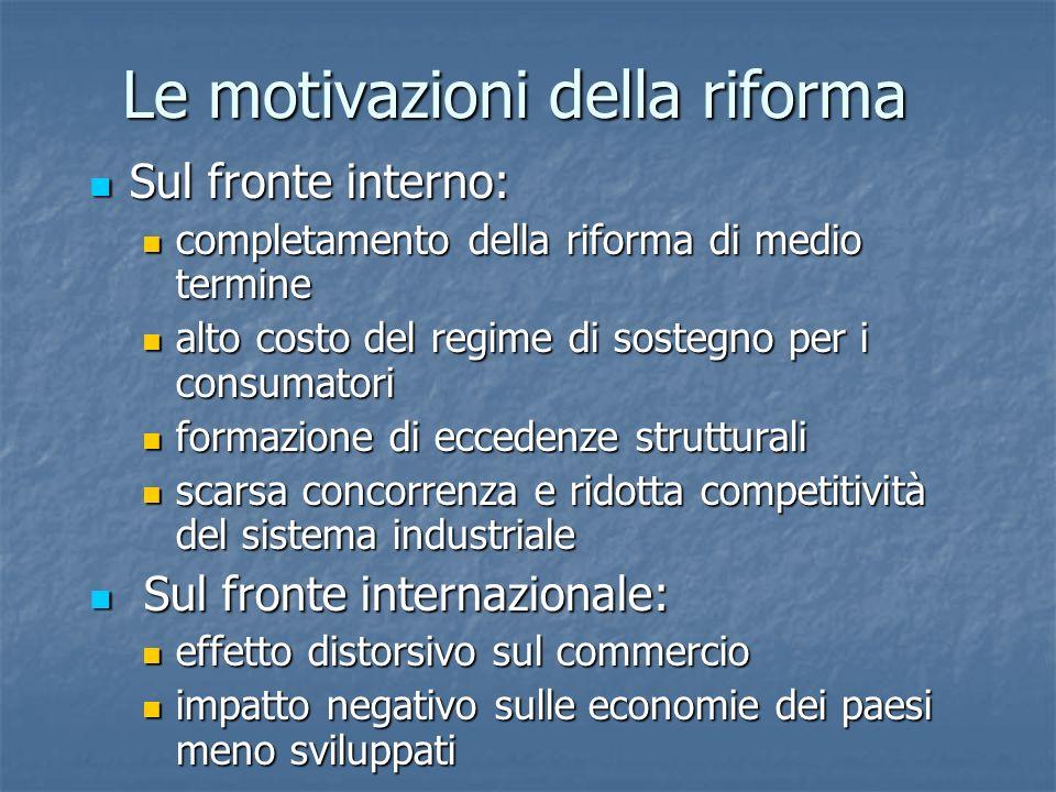 Sul fronte interno: Sul fronte interno: completamento della riforma di medio termine completamento della riforma di medio termine alto costo del regim