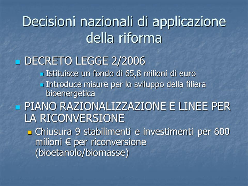 Decisioni nazionali di applicazione della riforma DECRETO LEGGE 2/2006 DECRETO LEGGE 2/2006 Istituisce un fondo di 65,8 milioni di euro Istituisce un