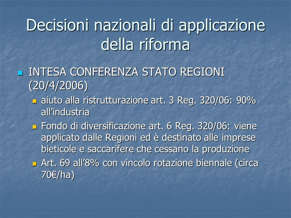Decisioni nazionali di applicazione della riforma INTESA CONFERENZA STATO REGIONI (20/4/2006) INTESA CONFERENZA STATO REGIONI (20/4/2006) aiuto alla r