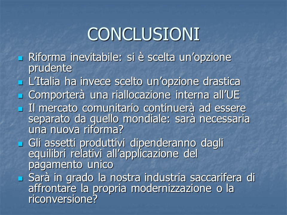 CONCLUSIONI Riforma inevitabile: si è scelta unopzione prudente Riforma inevitabile: si è scelta unopzione prudente LItalia ha invece scelto unopzione