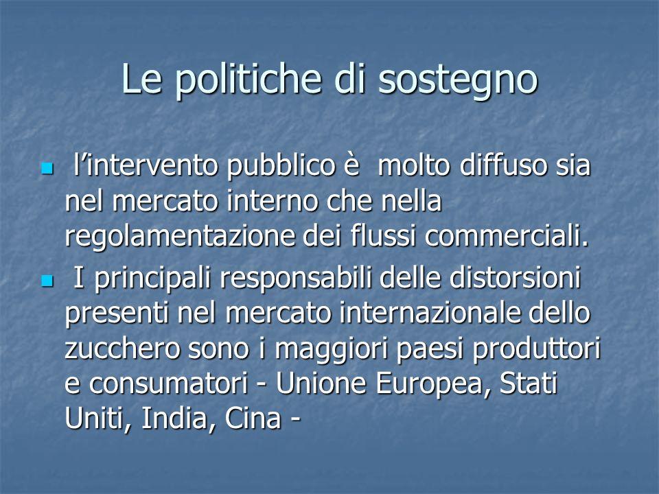 Le politiche di sostegno lintervento pubblico è molto diffuso sia nel mercato interno che nella regolamentazione dei flussi commerciali. lintervento p