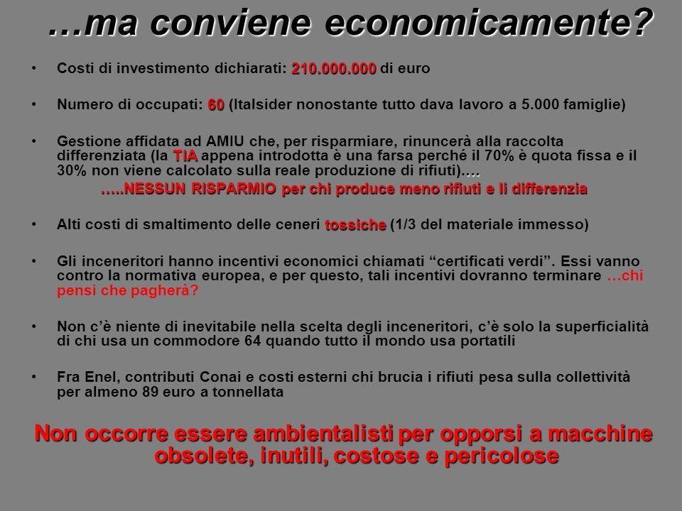 …ma conviene economicamente? 210.000.000Costi di investimento dichiarati: 210.000.000 di euro 60Numero di occupati: 60 (Italsider nonostante tutto dav