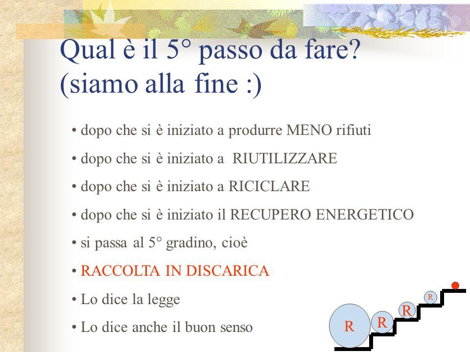 Qual è il 5° passo da fare? (siamo alla fine :) R R R R R dopo che si è iniziato a produrre MENO rifiuti dopo che si è iniziato a RIUTILIZZARE dopo ch