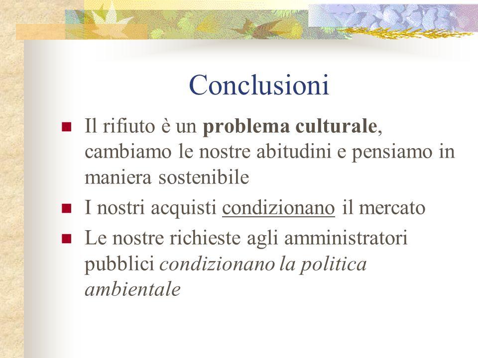 Conclusioni Il rifiuto è un problema culturale, cambiamo le nostre abitudini e pensiamo in maniera sostenibile I nostri acquisti condizionano il merca
