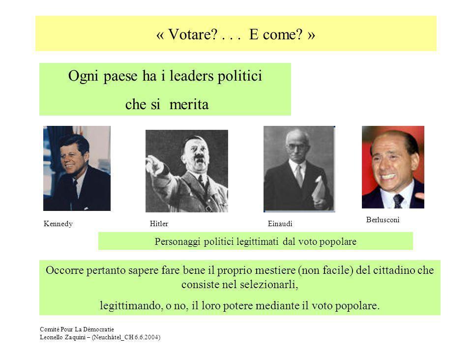 Comité Pour La Démocratie Leonello Zaquini – (Neuchâtel_CH 6.6.2004) « Votare?... E come? » Occorre pertanto sapere fare bene il proprio mestiere (non