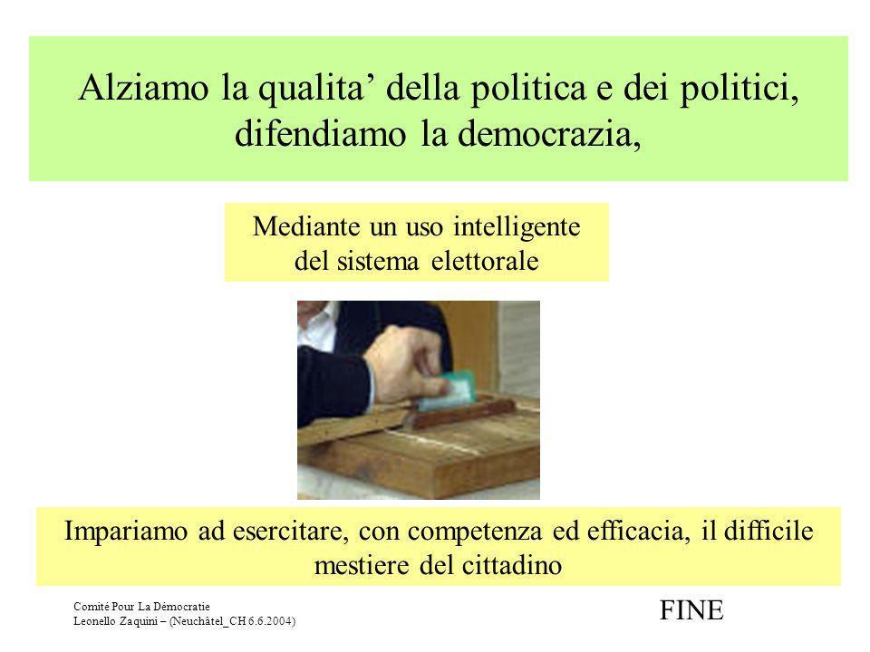 Comité Pour La Démocratie Leonello Zaquini – (Neuchâtel_CH 6.6.2004) Alziamo la qualita della politica e dei politici, difendiamo la democrazia, Media
