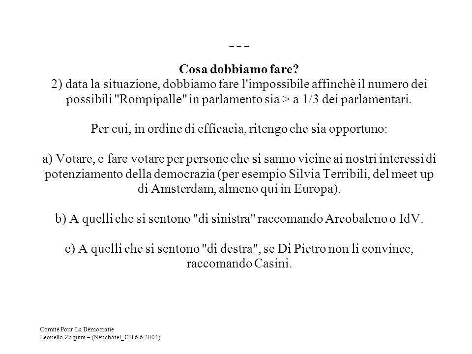 Comité Pour La Démocratie Leonello Zaquini – (Neuchâtel_CH 6.6.2004) = = = Cosa dobbiamo fare? 2) data la situazione, dobbiamo fare l'impossibile affi