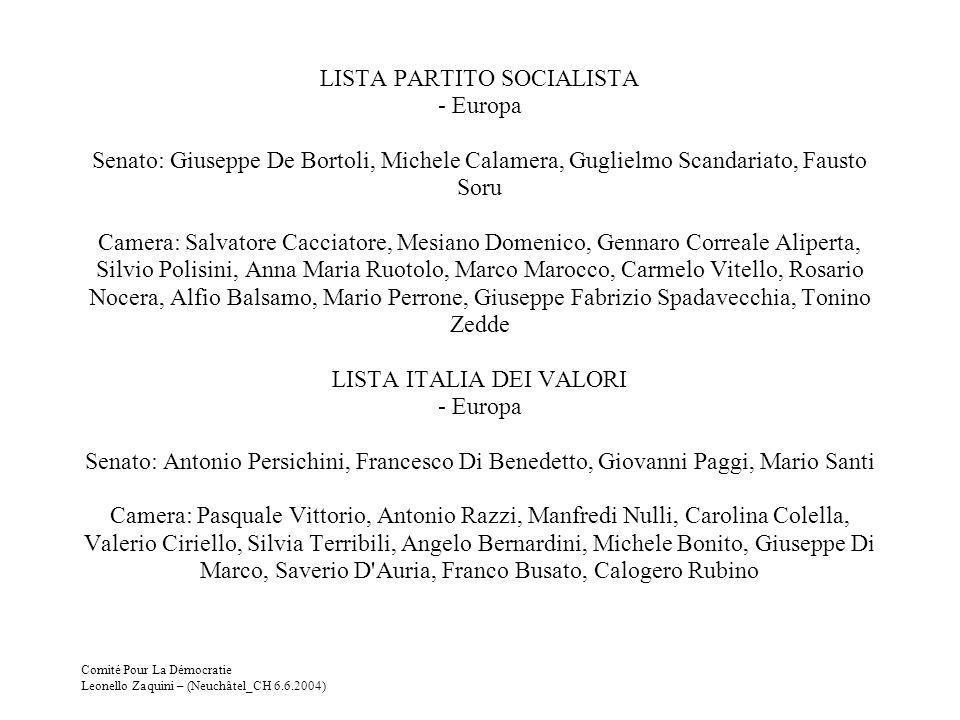 Comité Pour La Démocratie Leonello Zaquini – (Neuchâtel_CH 6.6.2004) LISTA PARTITO SOCIALISTA - Europa Senato: Giuseppe De Bortoli, Michele Calamera,