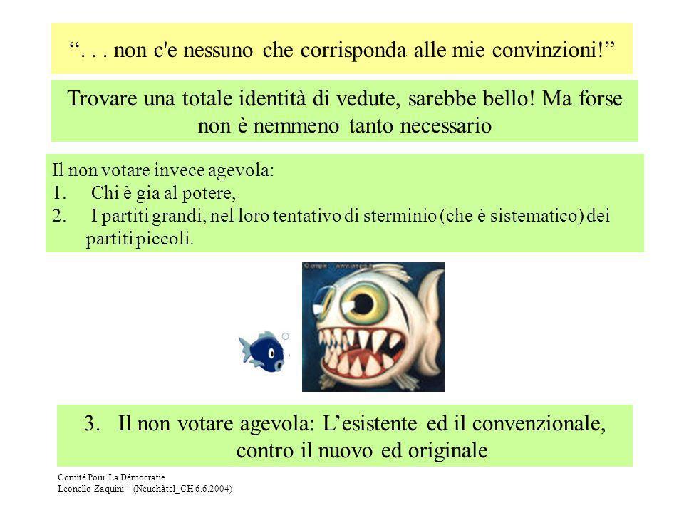 Comité Pour La Démocratie Leonello Zaquini – (Neuchâtel_CH 6.6.2004)... non c'e nessuno che corrisponda alle mie convinzioni! Il non votare invece age