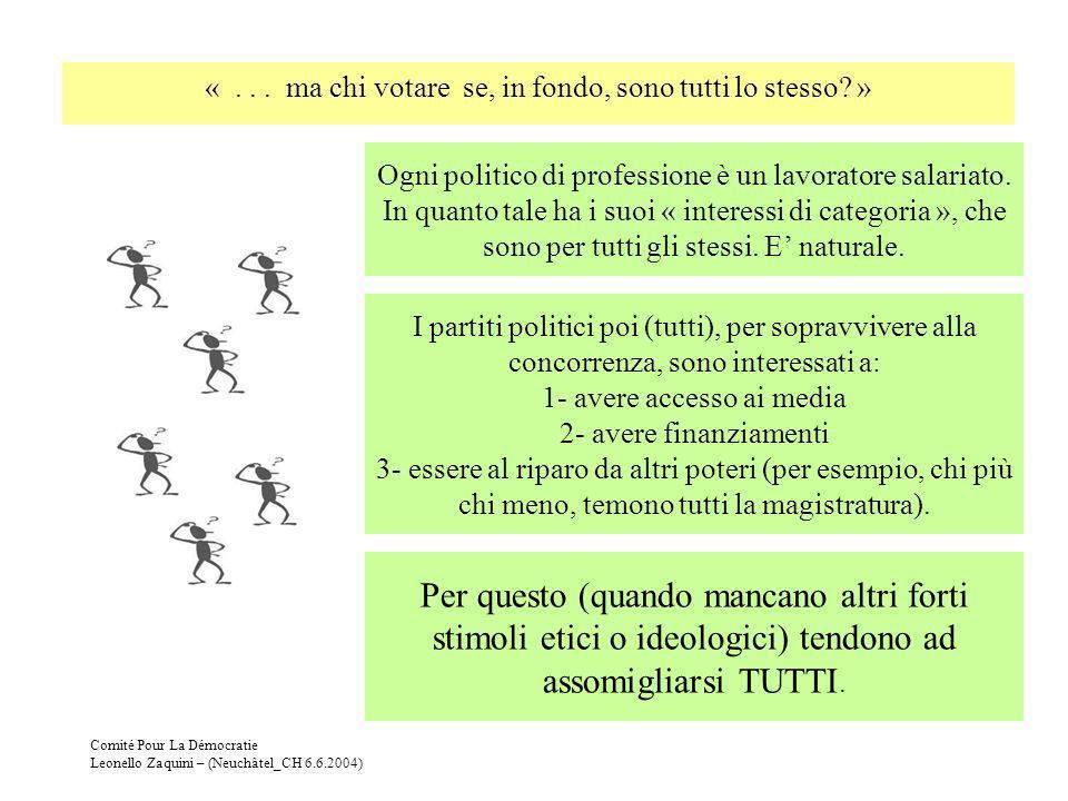 Comité Pour La Démocratie Leonello Zaquini – (Neuchâtel_CH 6.6.2004) Ogni politico di professione è un lavoratore salariato. In quanto tale ha i suoi
